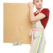 Housewife holding wooden board — Stock Photo #72538055