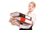 Woman holding stack of folders — Stock Photo