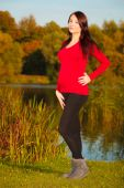 Relaxed calm pregnant woman in park outdoor — Stock Photo