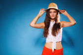 Girl in summer clothes posing — Stock Photo