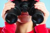 Lifeguard on duty looking through binocular — Stock Photo