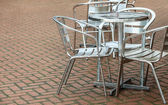 Outdoor restaurant coffee open air cafe chairs with table. — Stock Photo