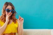 Girl in blue sunglasses portrait — Stock Photo