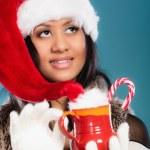 Girl  holding red mug — Stock Photo #75478601