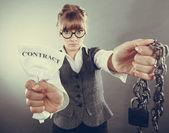 Businesswoman breaking contract. — Stock Photo