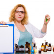 Chemist woman holding clipboard — Stock Photo #78471110