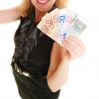 Business woman showing euro currency — Stock Photo #79072888