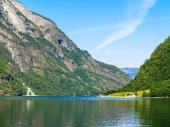 Mountains and fjord Sognefjord — Stock Photo
