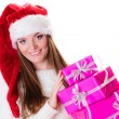Woman holding  gift boxes — Stock Photo #80086288