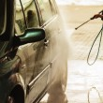 Dirty car during washing process — Stock Photo #80263724