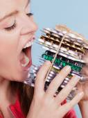 Woman taking eating pills tablets. Drug addict. — Stock Photo