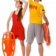 Man and woman supervising swimming pool — Stock Photo #80891814