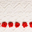 Red decorative satin  flowers — Stock Photo #83635688