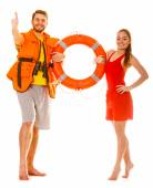 Lifeguards in life vest with ring buoy. Success. — Stock Photo