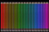 Lápis de cor, isoladas no fundo preto fechar — Fotografia Stock