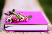 Pink and white clover on the fuchsia book — Stock Photo