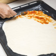 Preparing the pizza dough with tomato — Stock fotografie #55045375