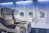 Airplane cabin business class interior — Stock Photo