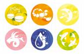 Signs of the zodiac in watercolor circles — Stock Vector