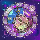 Watch with astrological signs, vector — Stock Vector