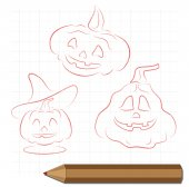 Pencil drawing on the theme of Halloween — Stock Vector