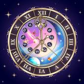 Zodiac signs, astrological clock, vector — 图库矢量图片