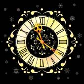 Christmas background with clock and snowflakes — Stock Vector
