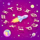 The circle of the zodiac in space , vector illustration — Stok Vektör