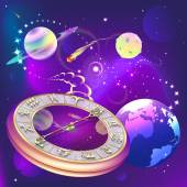 Star background with clock and zodiac signs, vector illustration — Stock Vector