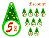 Labels with Christmas tree for new year's discounts , vector illustration — Stock Vector