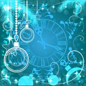 Blue Christmas background with clock , vector illustration — Stock Vector