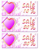 Banners with hearts — Stock Vector