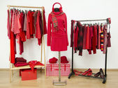 Wardrobe with red clothes arranged on hangers and an outfit on a mannequin. — Stock Photo