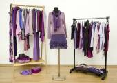 Wardrobe with purple clothes arranged on hangers and an outfit on a mannequin. — Stock Photo