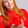 Beautiful young woman holding in front a Christmas present. — Stock Photo #60525979