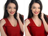 Beautiful young woman with sexy red lips smiling before and after retouching with photoshop. — Stock Photo