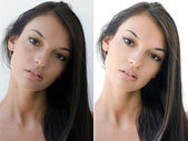 Portrait of a beautiful brunette girl before and after retouching with photoshop. — Stock Photo