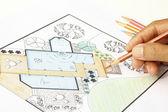 裏庭の風景の建築家設計水ガーデン計画 — ストック写真