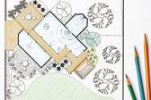 Architetto paesaggista piani giardino di design per il cortile — Foto Stock
