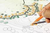 Landscape Architect Designing on site analysis plan — Stock Photo