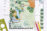 Landscape Architect design water garden plans for backyard — Stock Photo