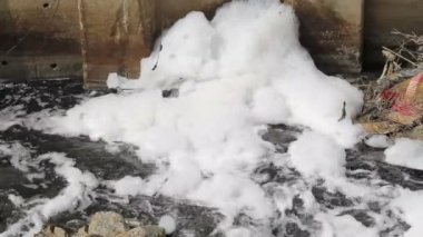 Water pollution in canal because industrial not treat water before drain — Stock Video