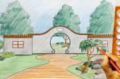 Landscape architect design chinese garden plan — Fotografia Stock