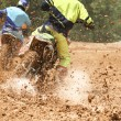 Motocross racer accelerating speed in track — Stock Photo #73187337