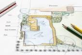 裏庭の庭の設計の計画. — ストック写真
