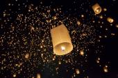 Floating asian lanterns in Chiang Mai Thailand — Stock Photo
