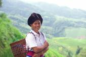Yao ethnic woman on the  rice fields — ストック写真