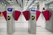 Modern subway turnstile — Stock Photo