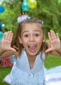 Pretty girl screams into the camera — Stock Photo