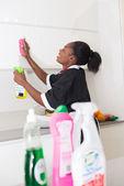 Bonita casa feita limpa-móveis de cozinha — Fotografia Stock